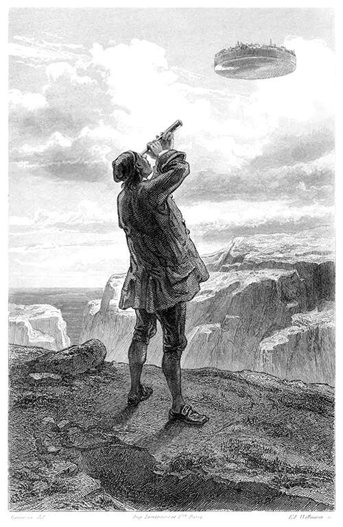 Gulliver stands at the edge of a cliff, looking with a telescope at a city hovering in the sky