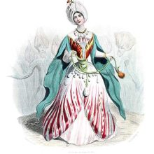 A tulip is depicted as a woman wearing a turban and pearls hanging from her belt