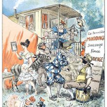 A circus company is getting ready, dressing and making up outside the wagons