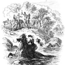 A woman rides a horse in a river as men on horseback wave at her from the bank