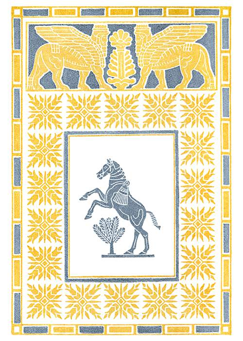 A rearing horse, stylized in a way reminiscent of Assyrian art, is seen from the side