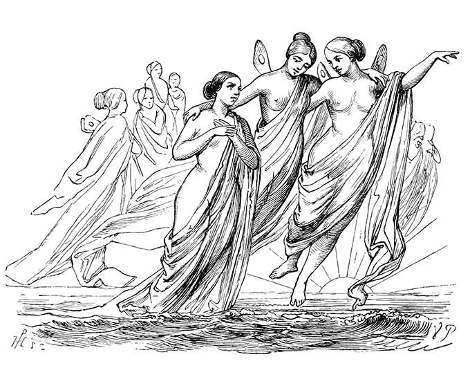Two winged female creatures are showing the way to a woman rising from the sea