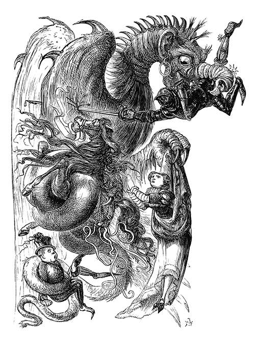 A dragon has caught a knight in its mouth, his horse in one of its feet, and a women in the other
