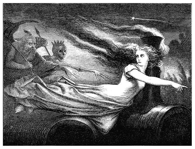 A female figure floats in the night, leading the way for Time and Death following behind her