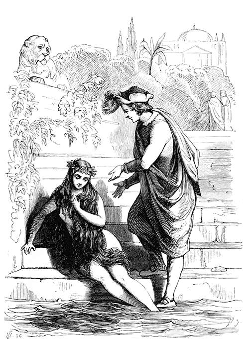 A young women is sitting on steps leading into the water as a young man stands beside her