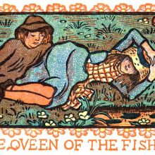 A girl lies in the grass on a riverbank as a boy is reclining at his side