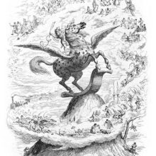 An imp-like creature stands on the back of a winged horse ready to fly off the top of a mountain