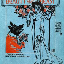 The Beast has a bunch of flowers in his hands and tries to woo Beauty who stands before a tree