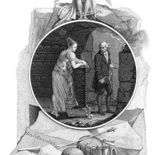 A woman leans on a stand in a crypt lined with skulls as a man takes his leave from her