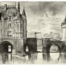 View of the Château de Chenonceau showing the chapel and the nearby drawbridge