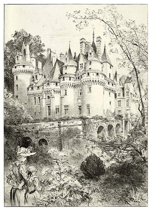 View of the château d'Ussé showing a bridge and a woman with a little girl in the foreground