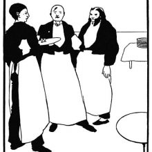 Three waiters in their working attire stand side by side, one of them wearing bushy side whiskers