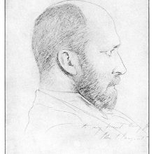 Sketched profile portrait of Henry James with a handwritten dedication by John S. Sargent
