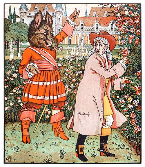 A cheerful monster with a boar-like head walks up behind a man picking roses in a park