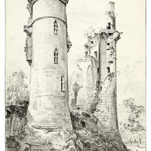 View of the ruins of the Château de Mehun-sur-Yèvre showing two towers