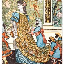 A woman with a fan walks across a room as two monkeys hold the train of her brocade dress