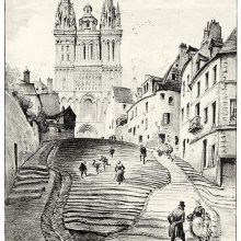 View of the slope leading up to Saint-Maurice Cathedral in Angers, France