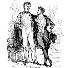 Covert portrait of Charles Nodier and Tony Johannot depicted as two men at a reception