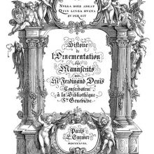 Title page showing classical ornaments including putti, architectural elements, and blackletter