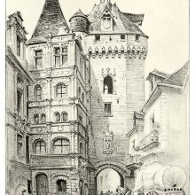 View of the Picois Gate and the town hall of Loches, located in the Indre-et-Loire department, France
