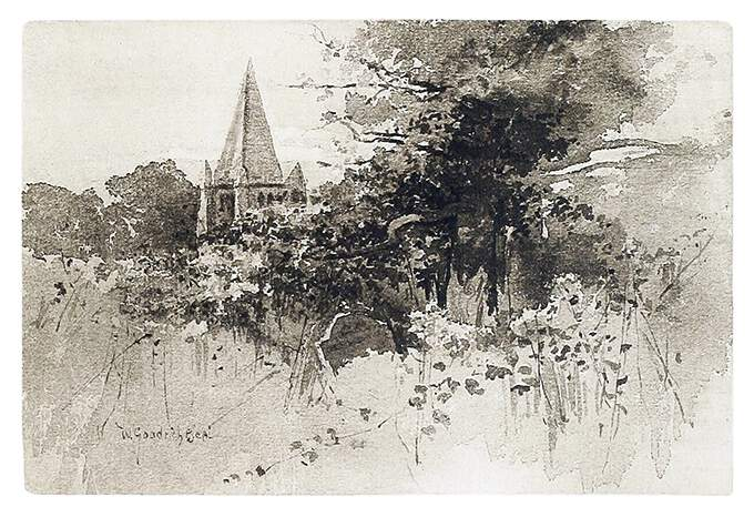 The spire of a church can be seen rising behind a curtain of vegetation overgrowing a graveyard