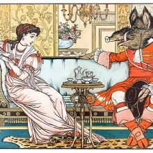 Beauty,and the Beast are having tea in a drawing room, sitting at opposite ends of a sofa