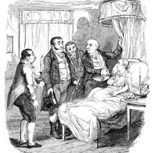 A wounded boy is lying in bed, surrounded by a doctor, two policemen, and a servant