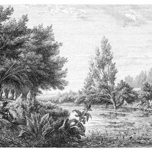 Landscape showing a river and riverbanks dotted with trees where a man is playing the bagpipe