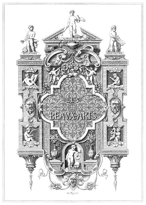 Decorative composition showing allegories of the fine arts set into an architectural structure