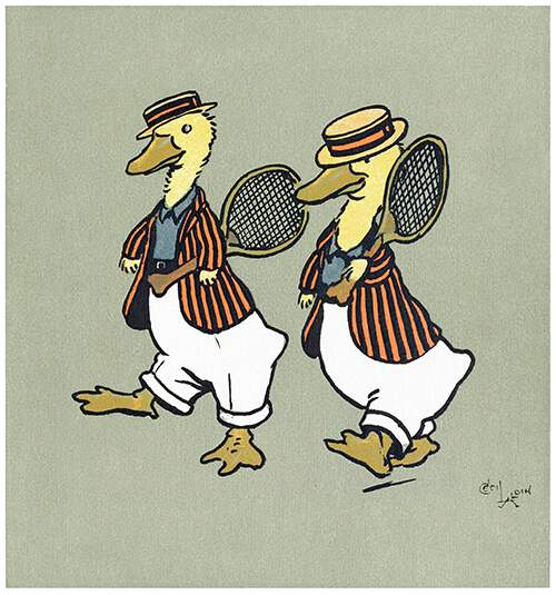 Two ducklings in boaters and striped jackets walk side by side carrying tennis rackets