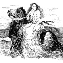 A young woman rides sidesaddle a horse headed out to the open sea