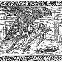An eagle carries a man in its claws and is about to lay him down on the ground