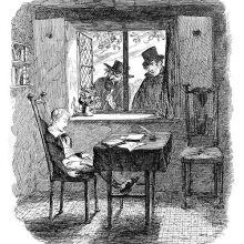 A boy is sleeping at a writing table as two menacing figures standi outside the window