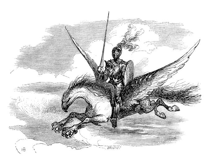 A knight in armor, armed with lance and shield, rides the hippogriff flying high in the sky