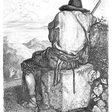 A man wearing breeches and a cone-shaped hat is seen from behind sitting on a square stone