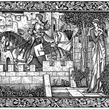 A woman stands in a garden, unseen by knights passing on horseback in the street