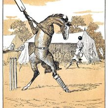 A horse is playing cricket, his bat held high and ready to strike the ball coming at him