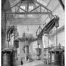 Interior view of the water pump at Chaillot, Paris. The pump was powered by two Newcomen engines
