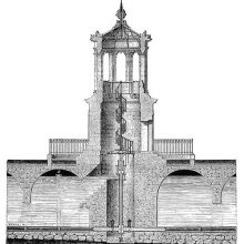 Cross section of the water tower near the porte Guillaume in Dijon