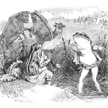 A frog talks to another sitting on a river bank while two bulls fight each other in the background