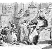 A cat sitting in a stately armchair receives the visit of a weasel and a rabbit