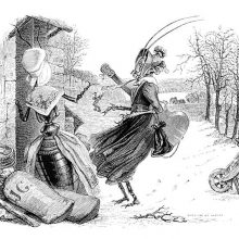 An anthropomorphous grasshopper stands in a winter landscape carrying a guitar and talking to ant