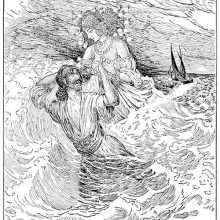 A man who has been thrown off a boat into the sea is rescued by a fairy