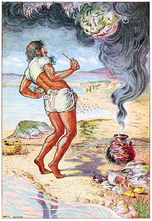 A man standing on the seashore looks in astonishment as a monster arises from a smoking jar