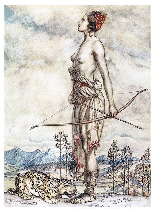 A bare-chested woman stands holding a bow and arrow to her side ax a leopard licks her feet