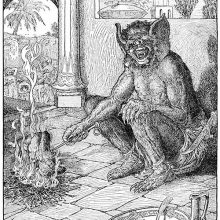 A one-eyed monster with large ears sits by a fire and holds a spit on which a man is roasting
