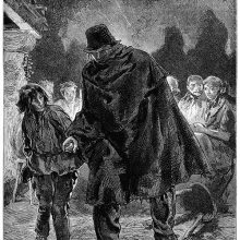 A blind man in a hat and tattered cloak takes the hand of a young boy to be led away