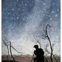 A man is silhouetted against the starry sky as he reaches the top of a hill