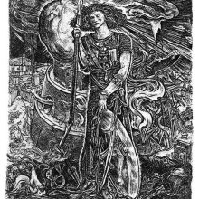 A man stands with a broken spear and his shield as the Tower of Babel burns in the background