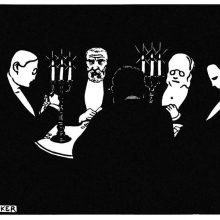 Five card players are sitting in a dark room around a table lit by two candelabras
